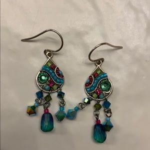 Gorgeous FIREFLY mosaic dangle drop earrings